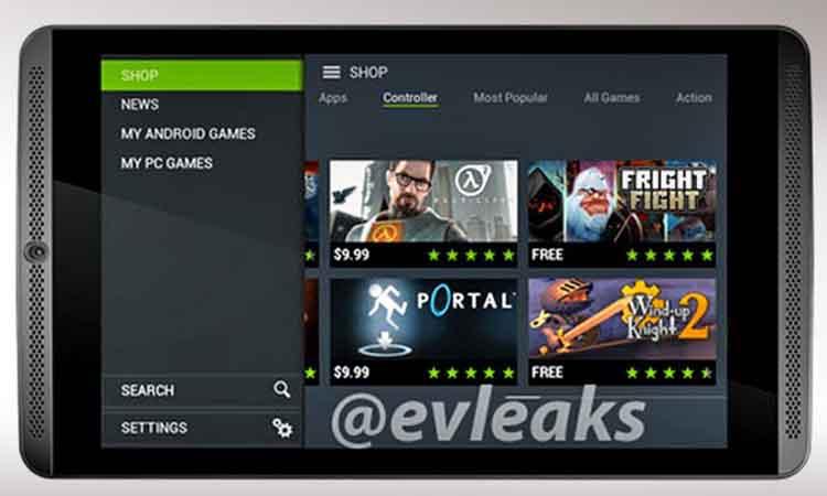Η εμπρός όψη του gaming tablet της Nvidia