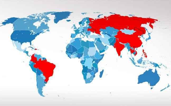 Ο χάρτης του παγκόσμιου online νυφοπάζαρου