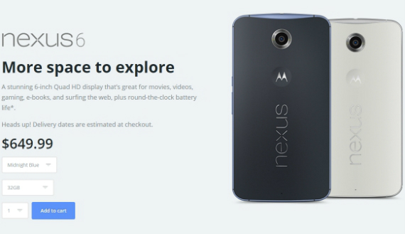 Nexus 6, διαθέσιμο από το website της Motorola