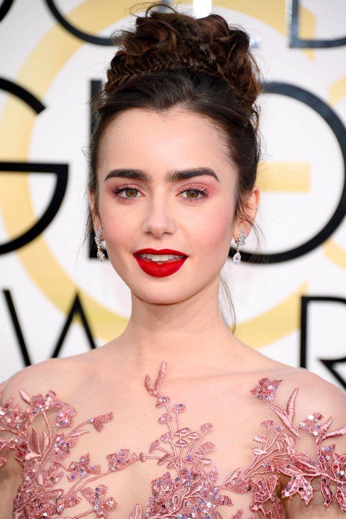 Lily Collins Hair Makeup 2017 Golden Globes