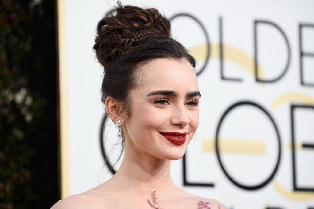 Lily Collins Hair Makeup 2017 Golden Globes 5