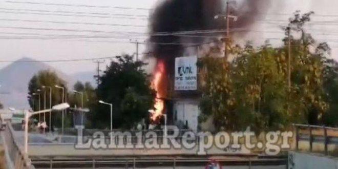 Στις φλόγες τεράστια αποθήκη επιχείρησης στη Θήβα