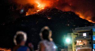 Ολονύκτια μάχη με τις φλόγες στο Λουτράκι
