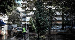 Εξάρχεια: Το χριστουγεννιάτικο δέντρο τοποθετήθηκε ξανά στην πλατεία