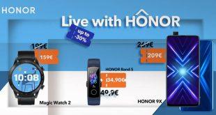 Live with HONOR : Προσφορές σε wearables και στο HONOR 9X έως και -30%