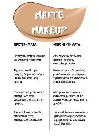 MATTE MAKEUP CHART
