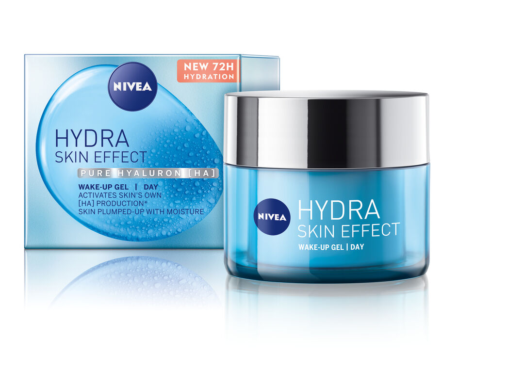 INT 94201 NIVEA Face Care Hydra Skin Effect Power Wake Up Gel 50ml Double layer Screen